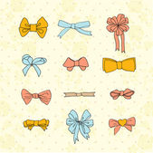 Bow set. Colorful vector illustration for girls — Vettoriale Stock