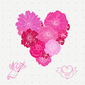 Vector illustration of pink floral heart with cute angel and label isolated on beautiful background — Stock Vector