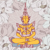 Vector illustration of yellow buddha with lotus ion floral background — Stock vektor