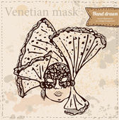 Vector illustration with Venetian mask in vintage background — Stock Vector