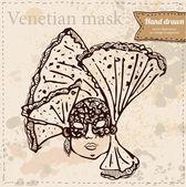 Illustration vectorielle avec masque vénitien en fond vintage — Vecteur