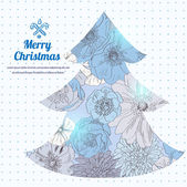 Vector illustration of Christmas tree, floral blue pattern hand drawn, snow color — Stock Vector