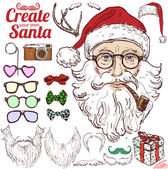 Santa head, hat, bow, glasses, mustache, horns, gift, camera — Stock Vector