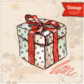 Vector illustration of present box hand draw on vintage paper background, red bow — ストックベクタ