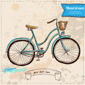 Vector illustration of bike hand draw on vintage paper background, cute label — Stock Vector