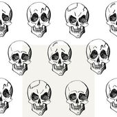 Skull seamless pattern, different emotions, hand drawn vector illustration — Vettoriale Stock