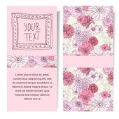 Vektorové vertikální banner s růžovými květy ručně kreslenou, uložte data — Stock vektor
