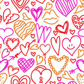 Vector seamless pattern hand drawn, doodle hearts in red, pink and orange color — Stock Vector