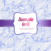 Vector card with label, pattern hand drawn, doodle blue wave and swirl — Stock Vector