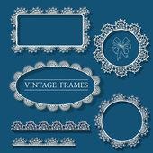 Vintage vector frame, doodle lace illustration hand drawn — Stock Vector