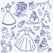 Wedding doodle sketchy vector illustration, love icon set — Stock Vector