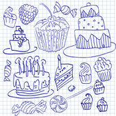 Cake and cupcake doodle sketchy vector illustration, hand drawn icon, set of set — Stock Vector
