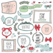 Romantic set of labels and ribbons — Stock Vector