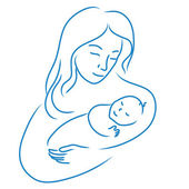 Illustration of mother with baby hand drawn, sketchy vector of women — Stock Vector