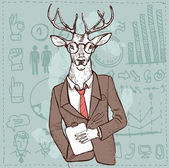 Hipster deer in suit hand drawn, sketchy vector illustration in vintage style — Stock Vector