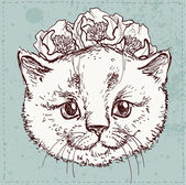 Hipster kitty with flowers — Stock Vector