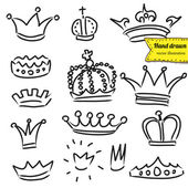 Crowns set in vector, doodle illustration, hand drawn design element isolated — Stock Vector