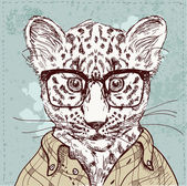 Vector hipster leopard with glasses and suit — Stock Vector