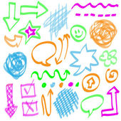 Collection of hand-drawn,text correction, arrows and text bubbles — Stock Vector