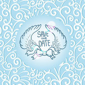 Save the date card, seamless swirl pattern, wedding invitation — Stock Vector