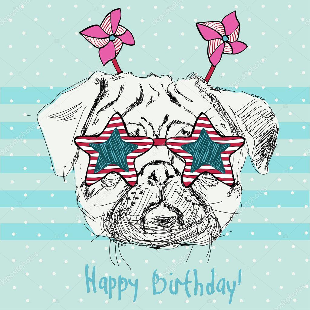 ilustración vectorial de gracioso perro pug en rosa estrella gafas ...