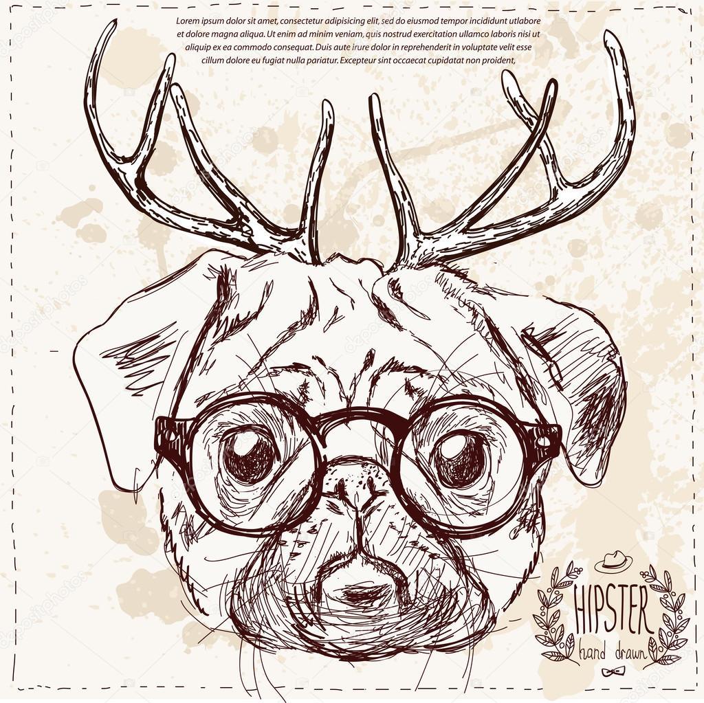 weihnachten hipster hund mit hirsch h rner hand zeichnen. Black Bedroom Furniture Sets. Home Design Ideas