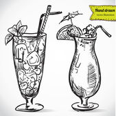 Hand drawn illustration of cocktail. — Stock Vector