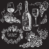Hand drawn vector set - wine and winemaking — Stock Vector