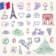 Symbols of France as funky doodles — Stock Vector #38357805