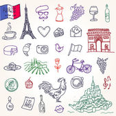 Symbols of France as funky doodles — Stock Vector