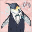 图库矢量图片: Vector Illustration of two Funny Penguins dressed in Retro Style Isolated on geometric background