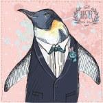 vektor illustration av två roliga pingviner klädd i retro stil isolerade på geometrisk bakgrund — Stockvektor