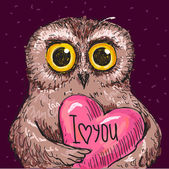 Vector Illustration of owl in love, — Stock Vector
