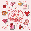 Doodle stickers set isolated, — Stock Vector