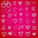 Heart doodle set — Stock Vector