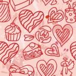 Hearts love seamless vector — Stock Vector