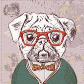 Vintage illustration of hipster pug dog — Stock Vector