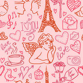Love in Paris seamless pattern — Stock Vector