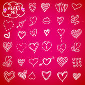 Set de corazón doodle — Vector de stock
