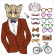 Hipster deer in suit hand drawn, — Stock Vector #39724615