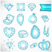 Diamond vector icons set — Stock Vector