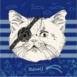 Illustration of pirate cat on blue background in vector — Stock Vector
