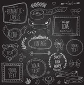Vintage chalkboard labels set, vector — Stock Vector