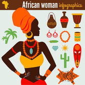 Beautiful Women's Infographic & Symbols — Vettoriale Stock