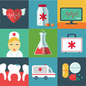 Trendy flat medical icons with shadow. Vector elements — Stockvector