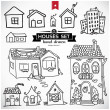 Collection of home apartments. Sketch vector set of houses in doodle style — Stock Vector