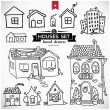 Collection of home apartments. Sketch vector set of houses in doodle style — Stock Vector #41793157