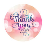 Thank you card on soft colorful background. — Stock Vector