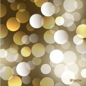 Light gold Vector bokeh background made from white lights — Stock Vector