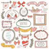 Vintage label set, Hand-drawn doodles and design elements, — Stock Vector